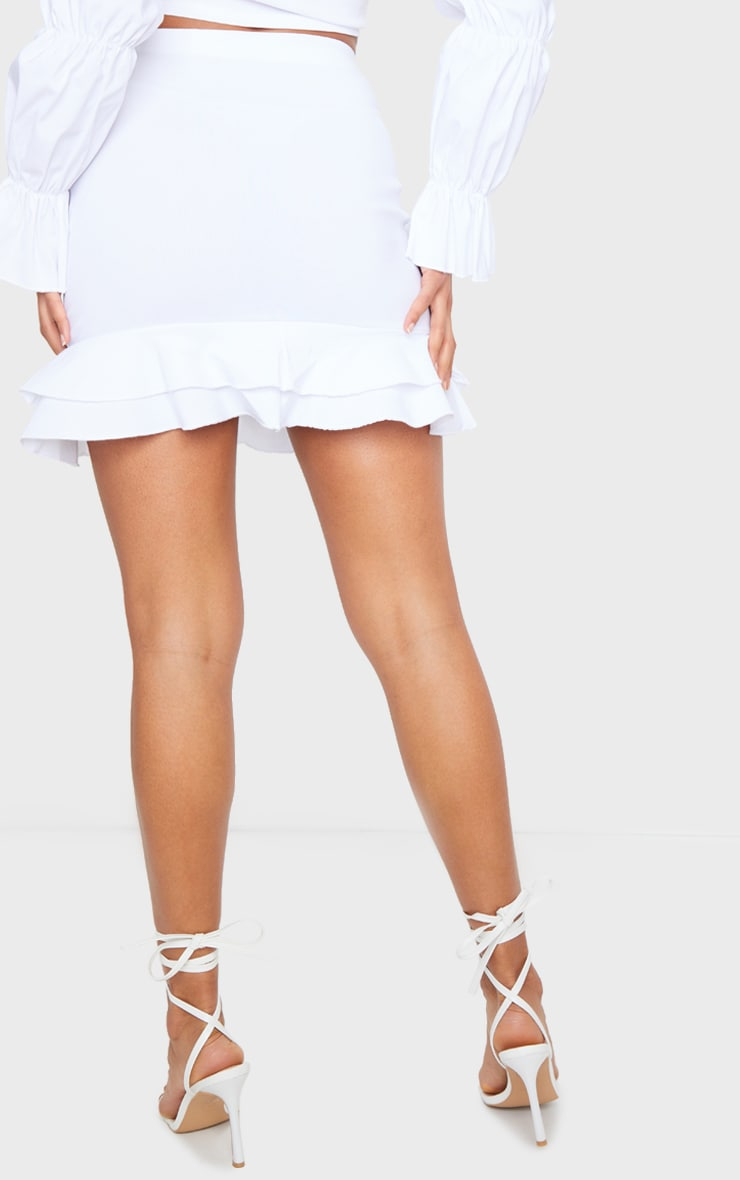 White Woven Stretch Frill Ruched Front Mini Skirt 3