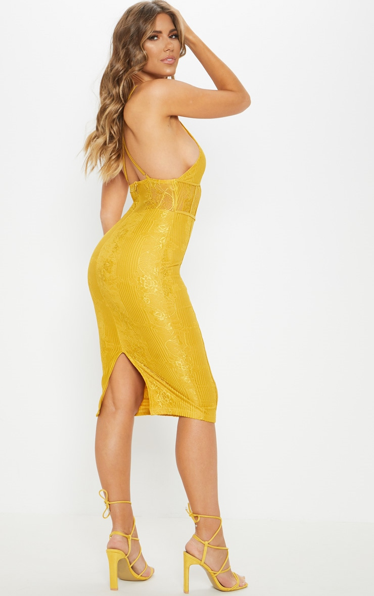 Mustard Lace Cut Out Front Cross Back Midi Dress  2