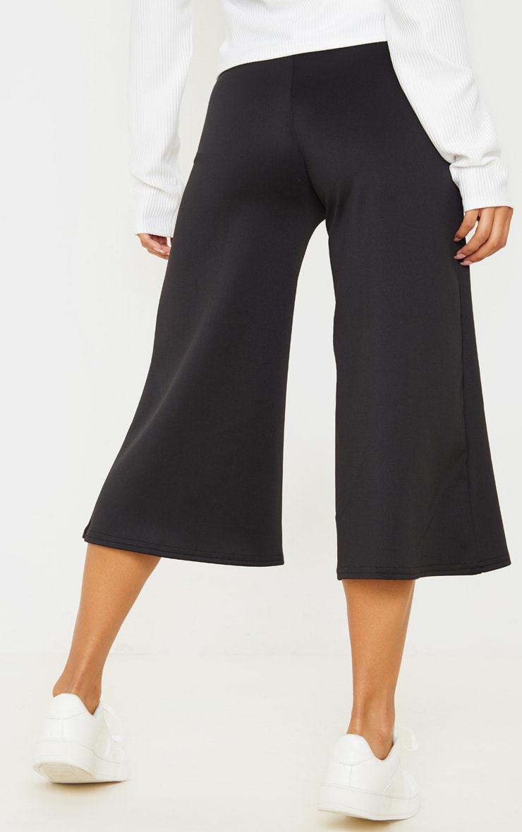 Black High Waisted Scuba Culottes 4