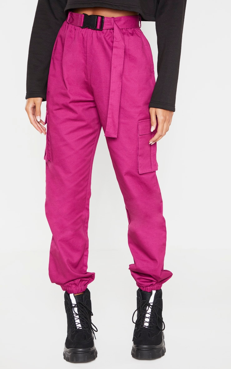 Washed Violet Utility Buckle Belt Track Pants 2