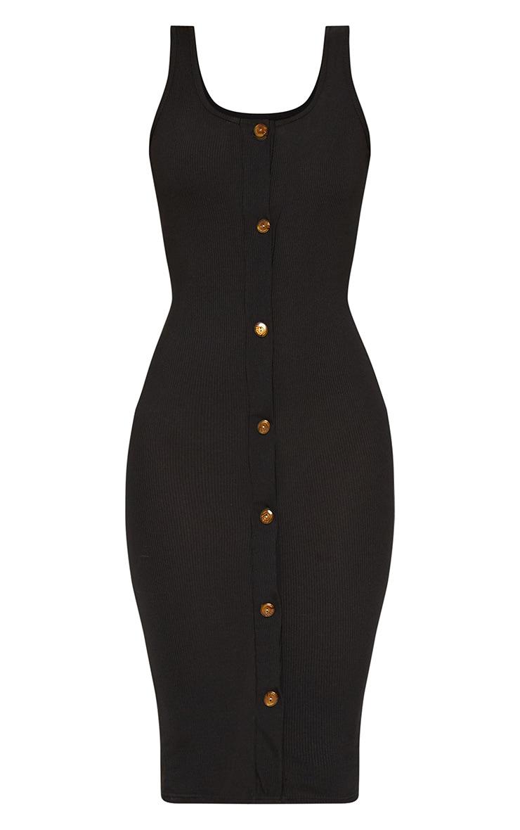 Black Ribbed Button Detail Midi Dress 4