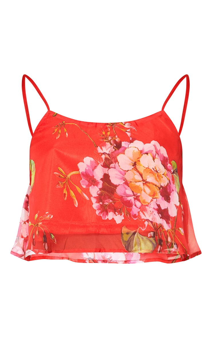 Red Floral Print Soft Cami Crop Top 3