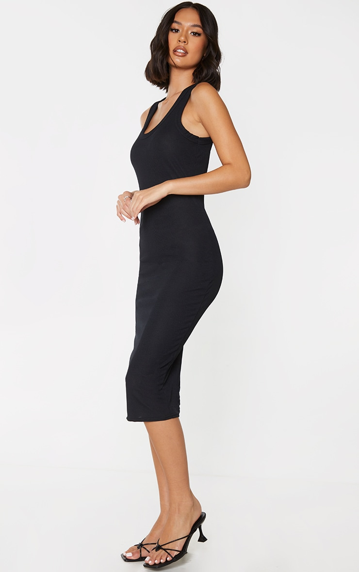 Black Rib Scoop Neck Sleeveless Midi Dress 3