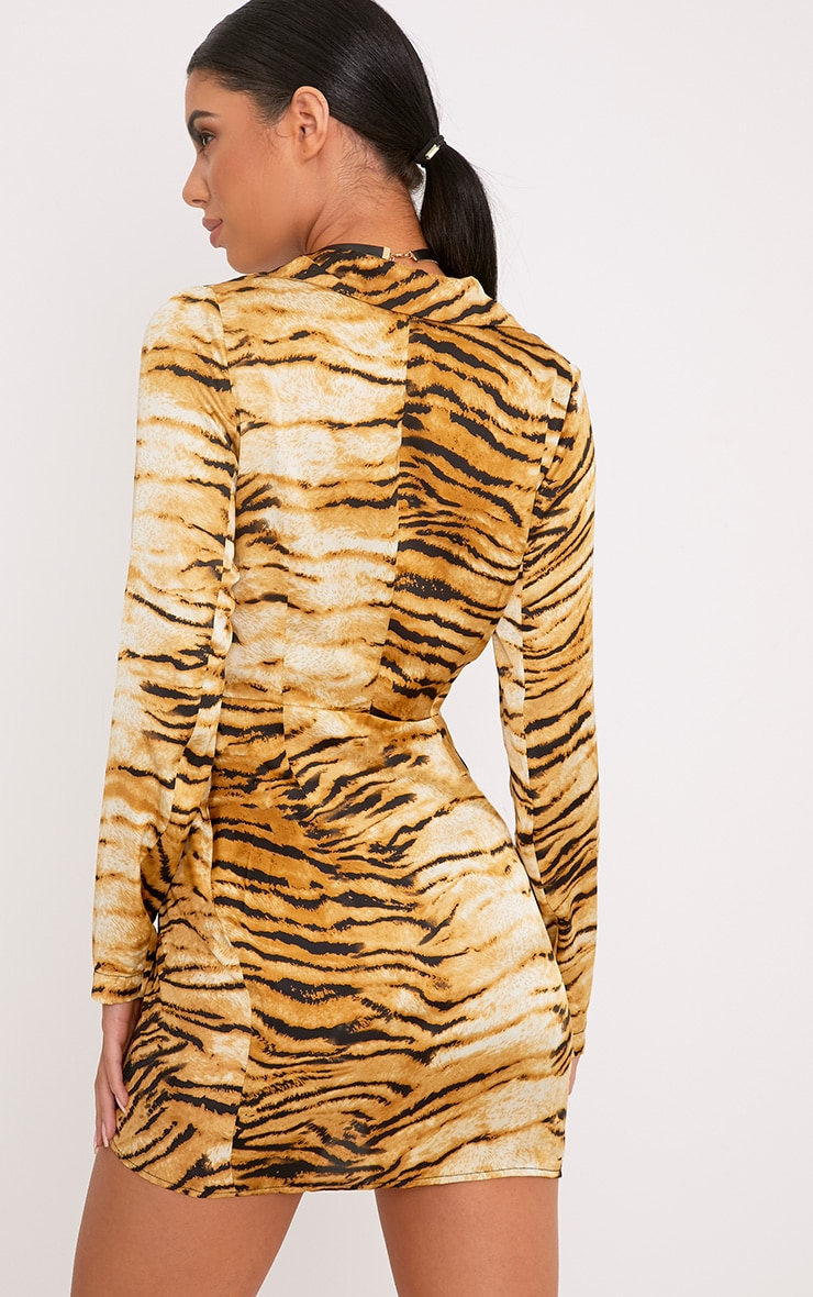 Harriett Animal Print Camel Wrap Shirt Dress 2