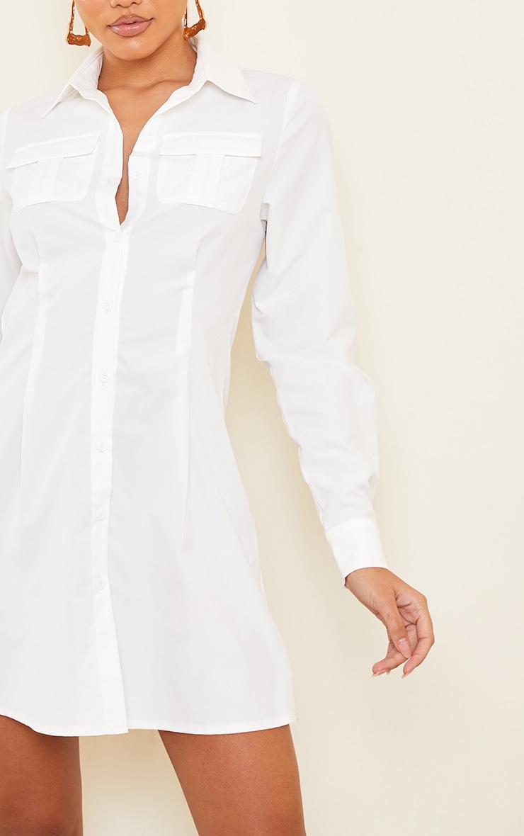 White Pocket Pleated Skirt Detail Shirt Dress 4