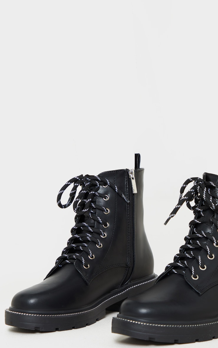 Black Chain Sole Cleated Chunky Lace Up Ankle Boot 4