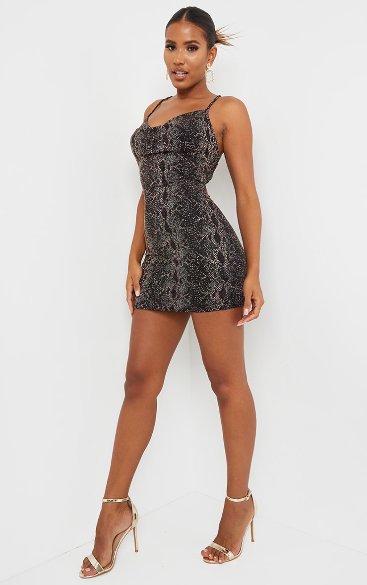 Multi Snake Print Glitter Strappy Bodycon Dress 3