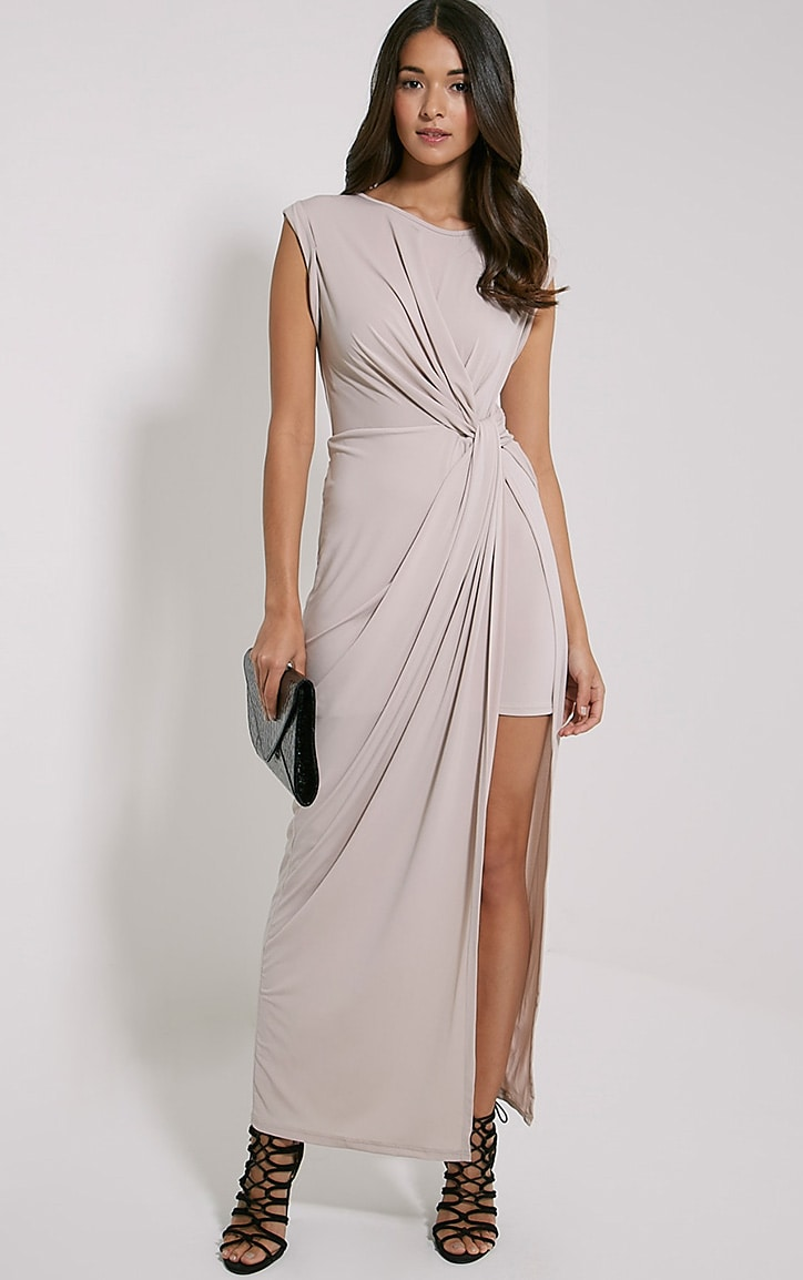 Reeta Nude Twist Front Maxi Dress 1