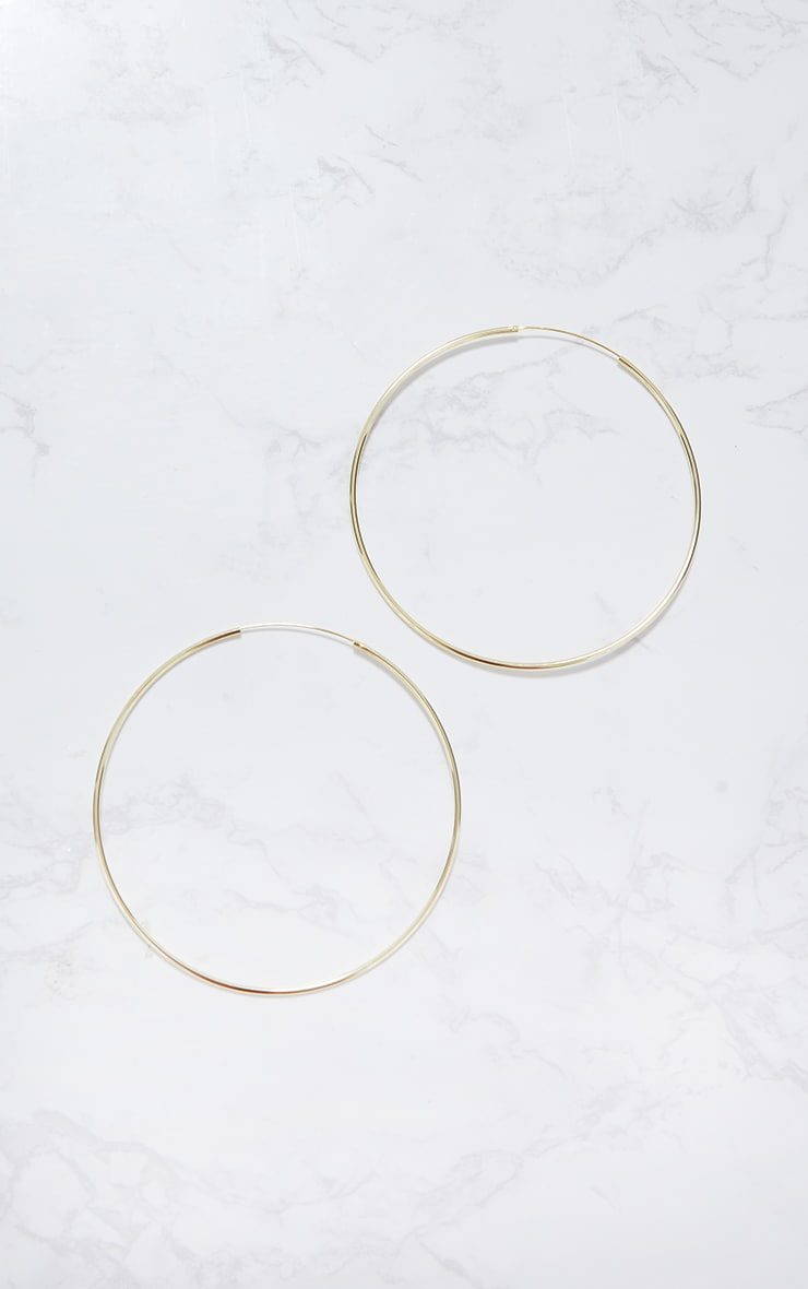 Gold Plated Sterling Silver 100mm Large Hoop Earrings 4