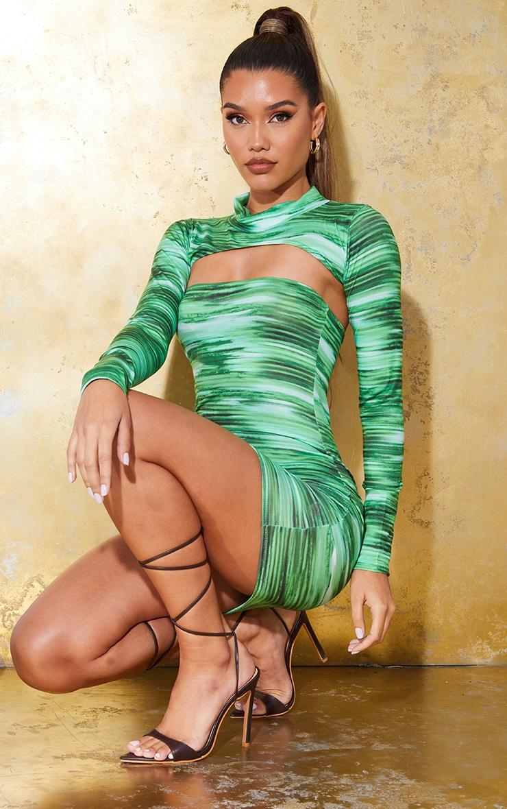 Bright Green Stripe Bandeau Bodycon Dress 3