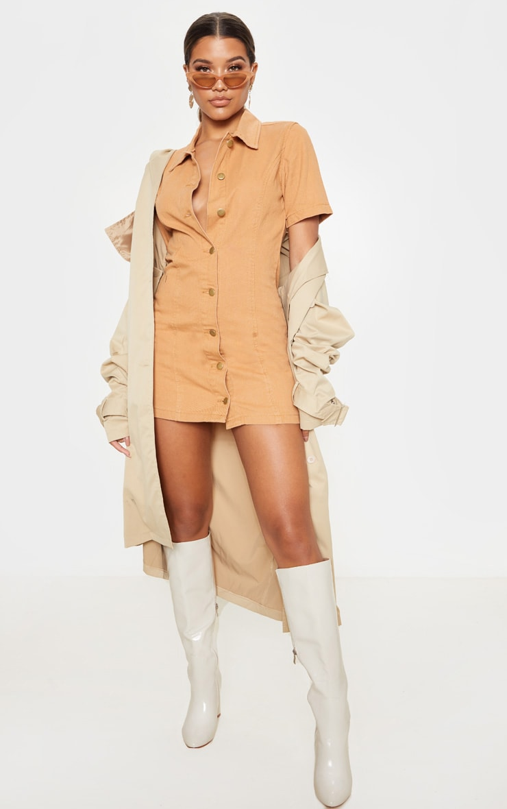 Biscuit Button Through Short Sleeved Denim Dress 4