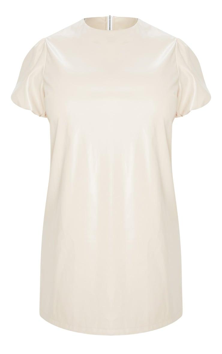 Plus Cream PU Puff Sleeve Shift Dress 3