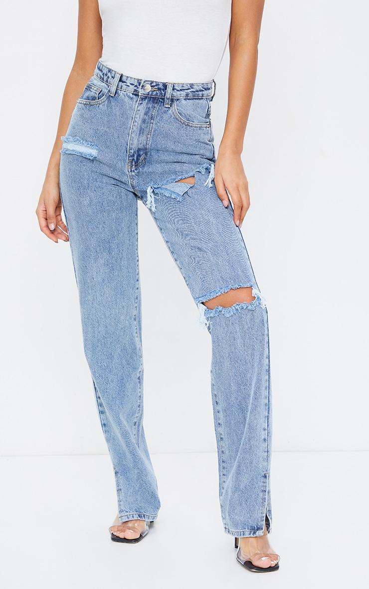 Light Blue Wash Distressed Split Hem Jeans 2