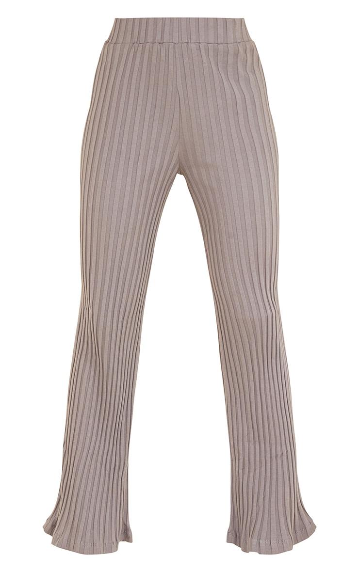 Charcoal  Jumbo Cotton Rib Wide Leg Pants 5