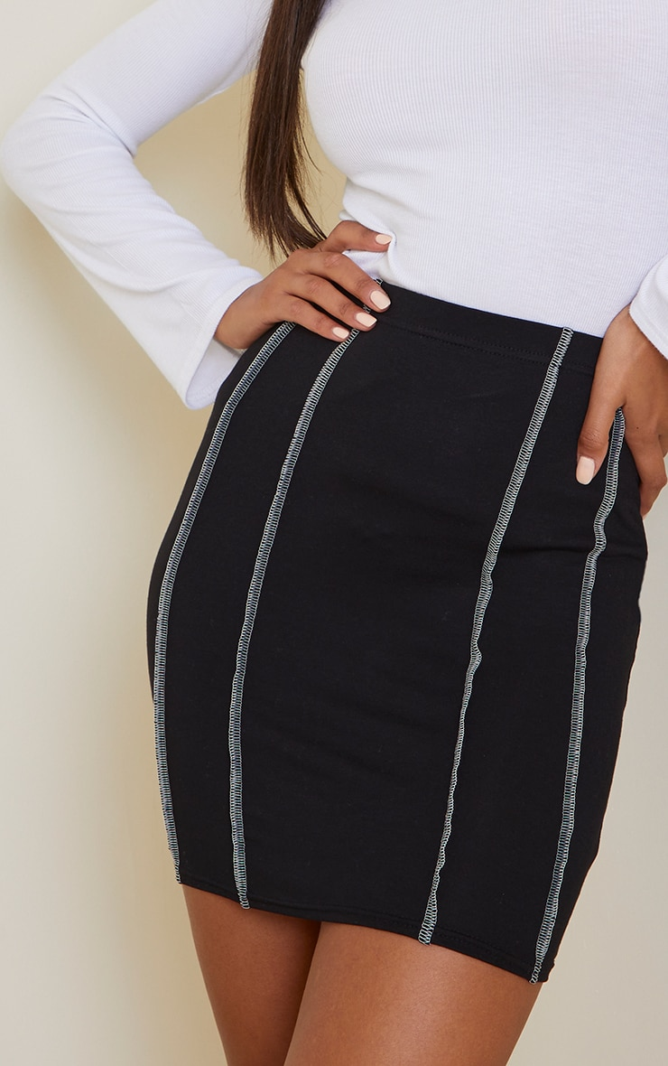 Black Overlock Seam Detail Mini Skirt 5