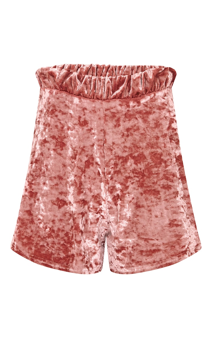 Ayisha short de course en velours frappé rose 4