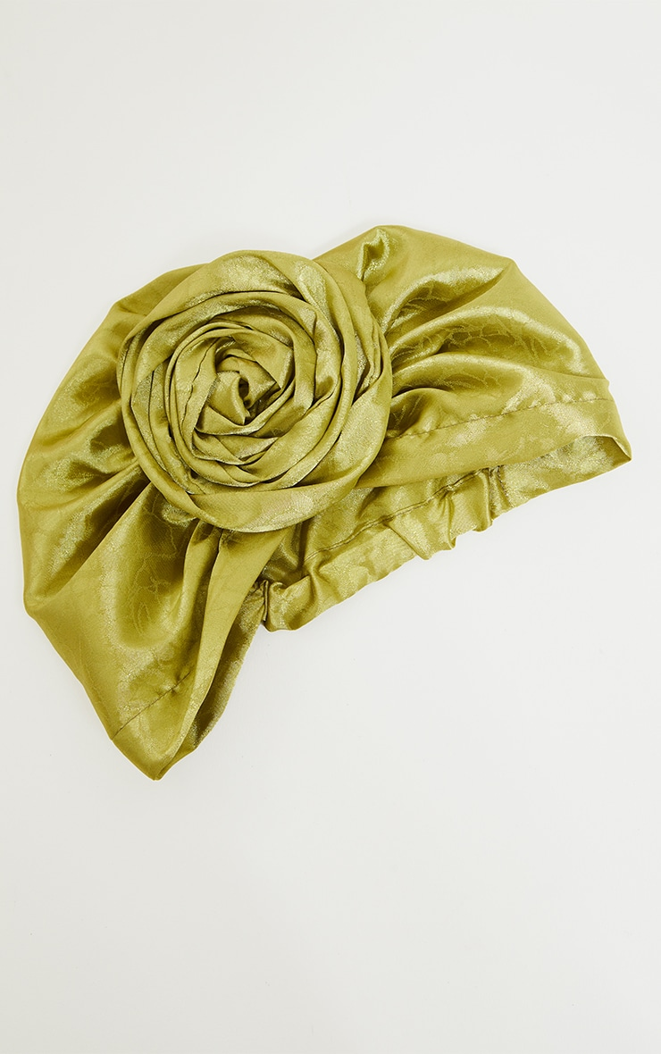Sage Green Satin Jacquard Knot Front Head Scarf 2