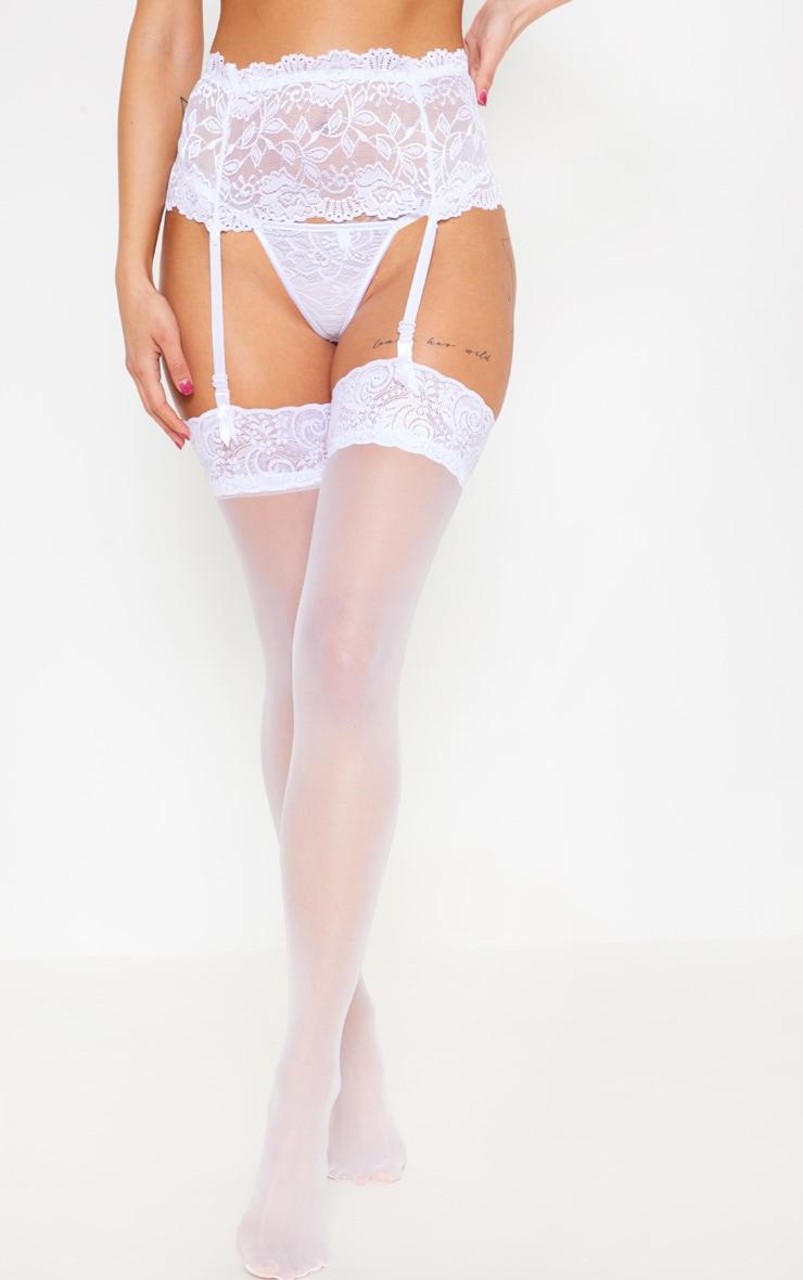 White Wide Lace Suspender 1