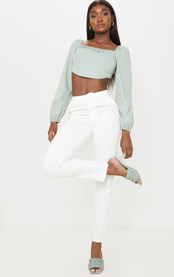 Tall Sage Green Corset Detail Long Sleeve Cropped Blouse 3