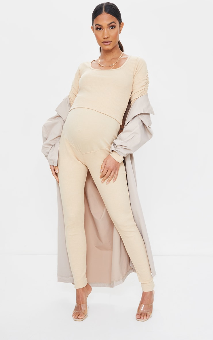 Maternity Camel Bump Support Ribbed Leggings 1