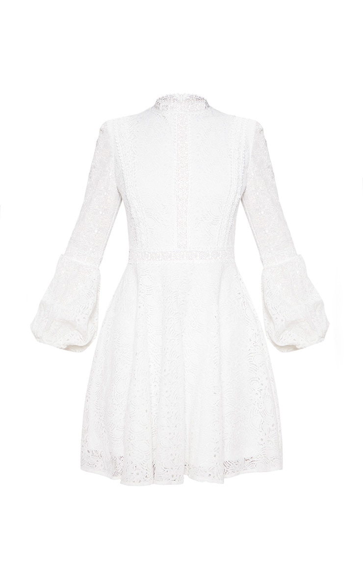 White Lace Long Sleeve Skater Dress 3