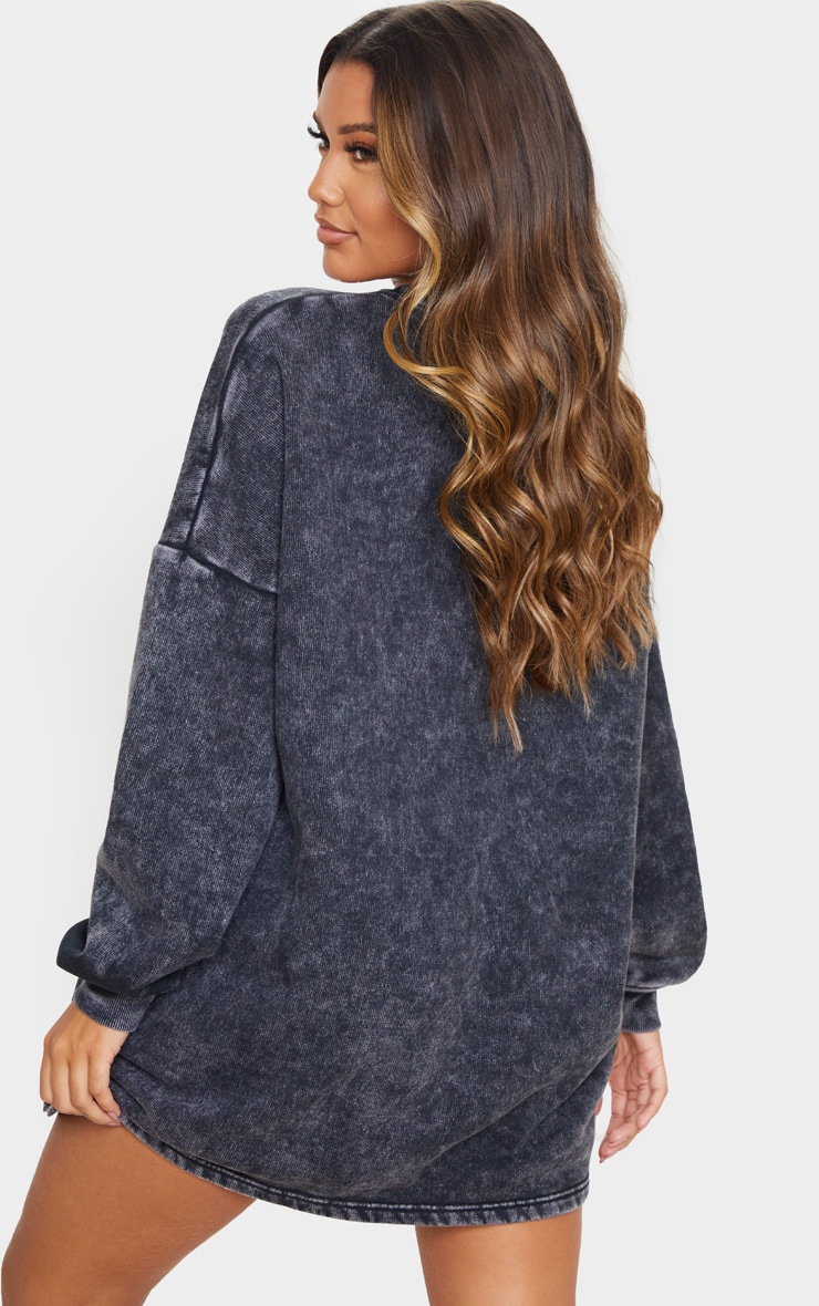 Black Acid Wash Oversized Sweater Dress 2