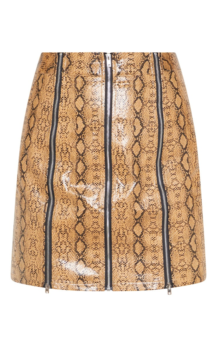 Camel Faux Leather Snake Print Zip Detail Mini Skirt 3