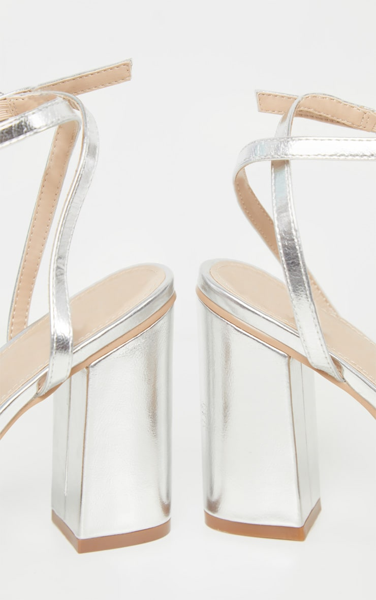 Silver Wide Fit Block Heel Strappy Sandal 4