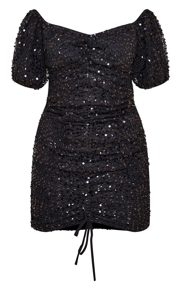 Petite Black Sequin Ruched Detail Bodycon Dress 5