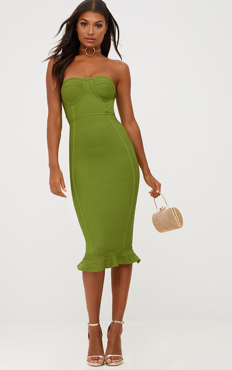 Olive Bandage Frill Hem Midi Dress 4