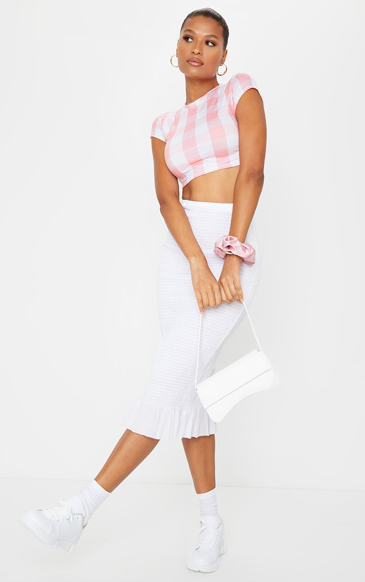 Baby Pink Gingham Printed Crop T Shirt 3