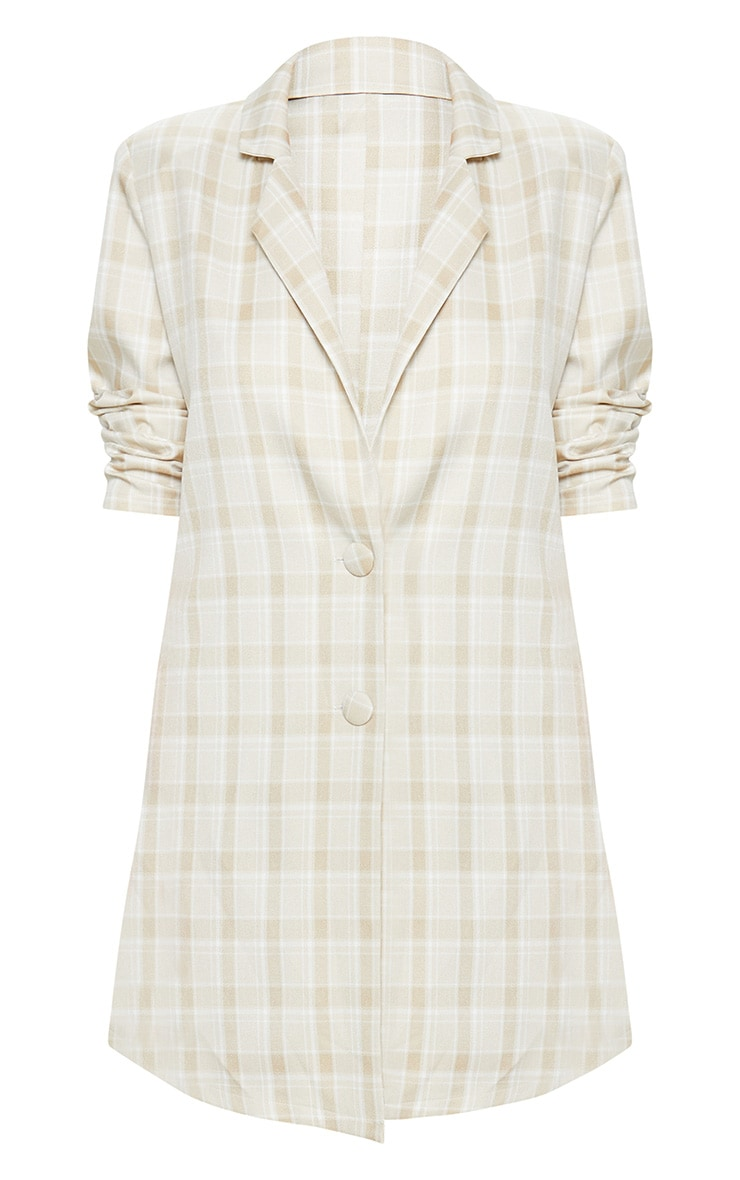 Beige Check Blazer Dress 3