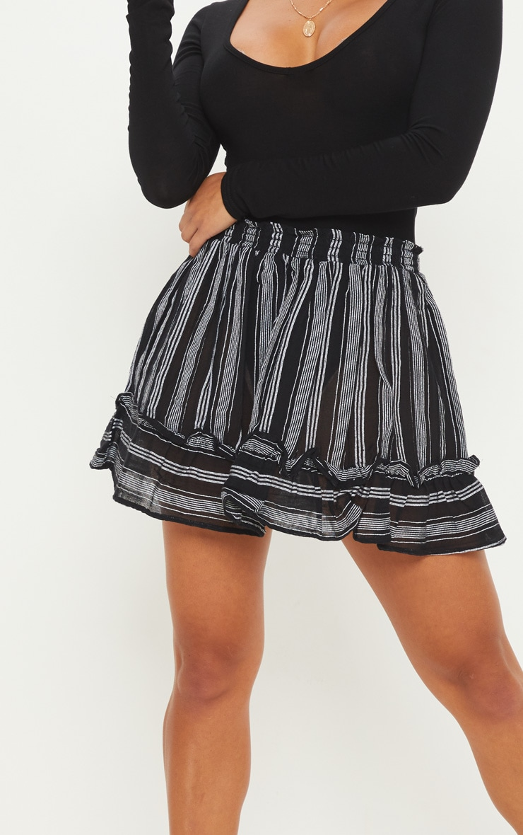 Petite Black Cheesecloth Striped Floaty Skirt 6