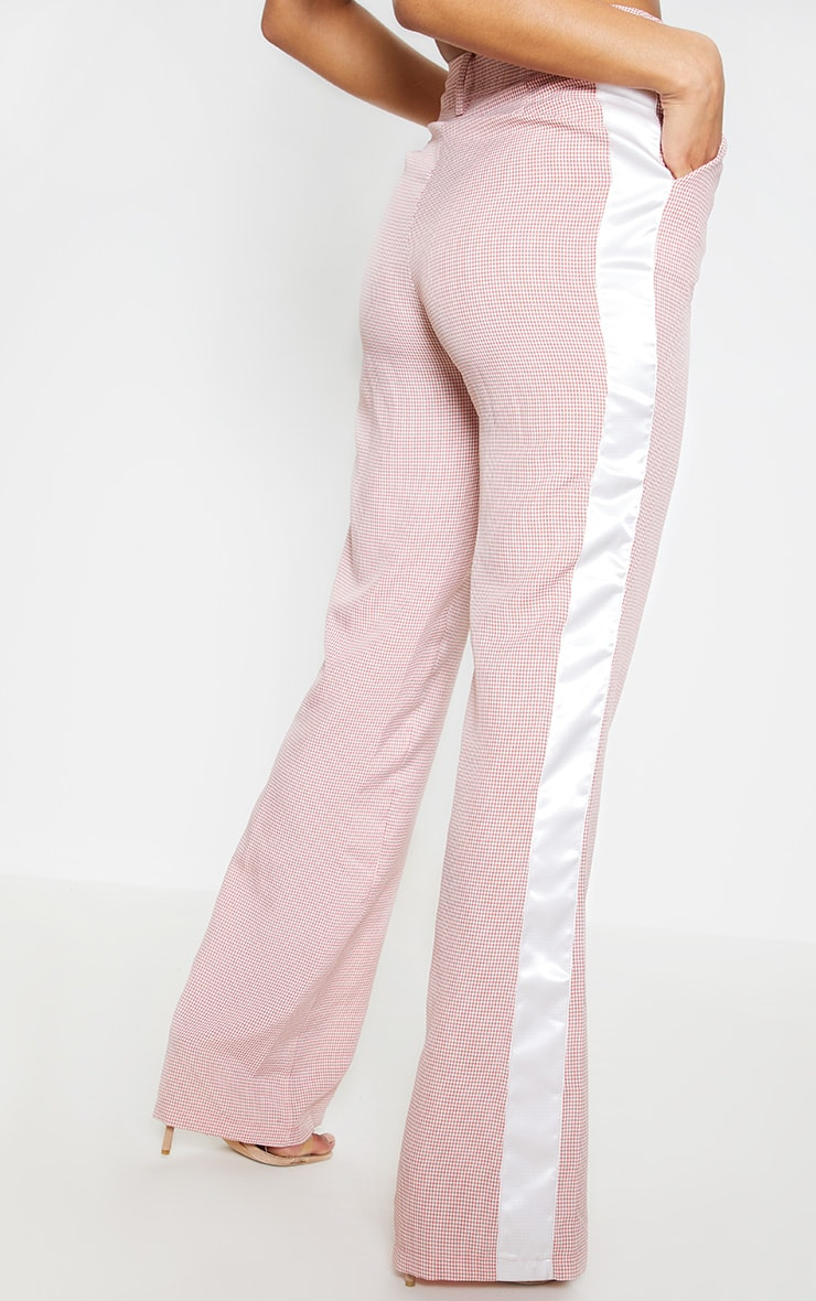 Dusty Pink Check Contrast Satin Tape Flare Leg Trouser  4