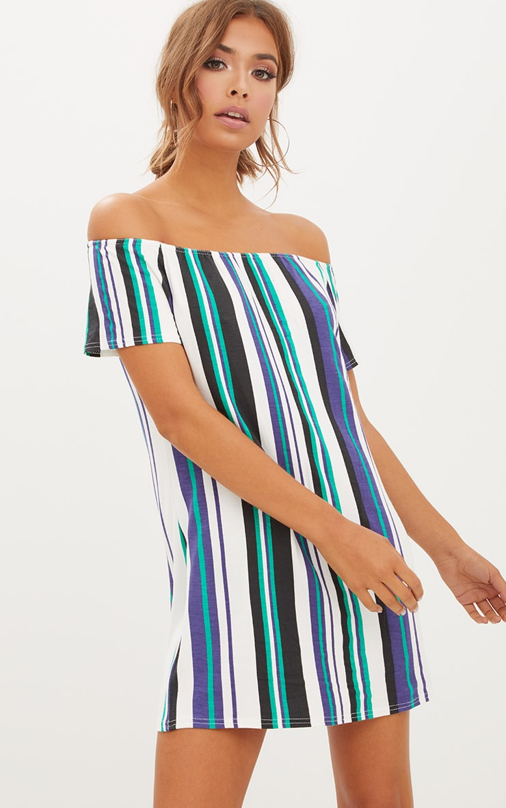 Green Striped Bardot Shift Dress 1