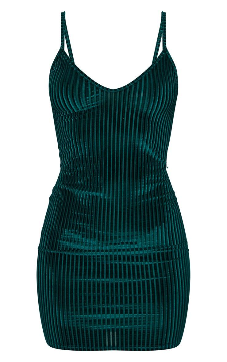 Emerald Green Velvet Ribbed Strappy Bodycon Dress 3