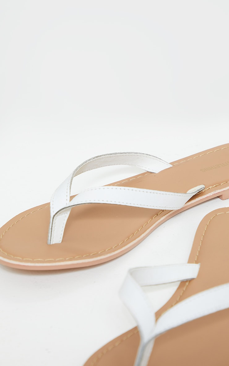 White Leather Contrast Sole Mule Sandals 4
