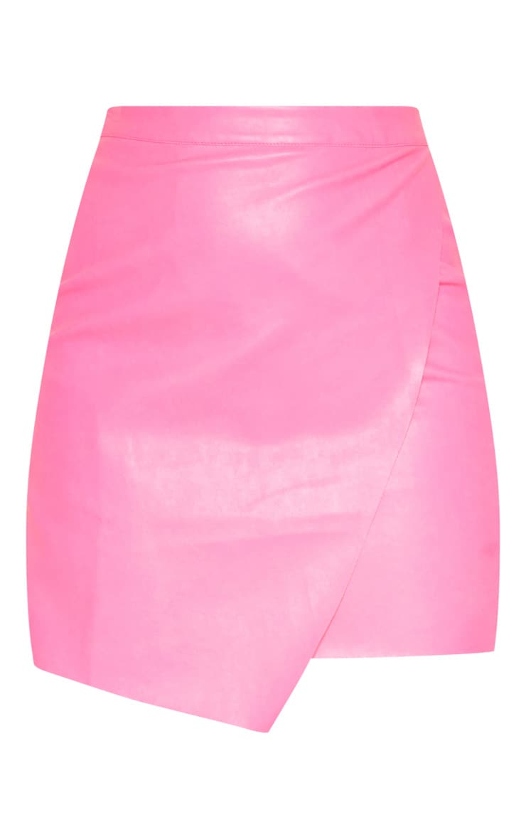 Hot Pink Faux Leather Wrap Mini Skirt 3
