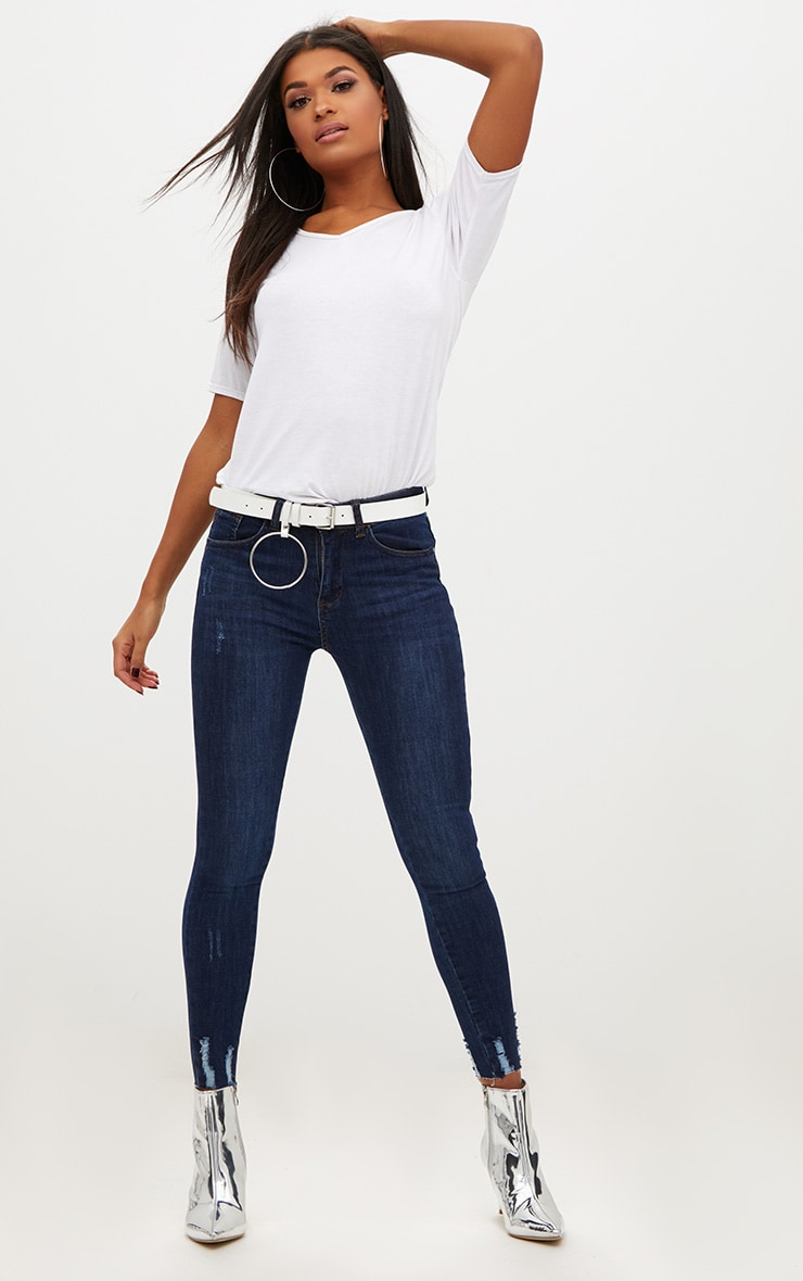 Dark Wash Distressed Hem High Waisted Skinny Jean 1