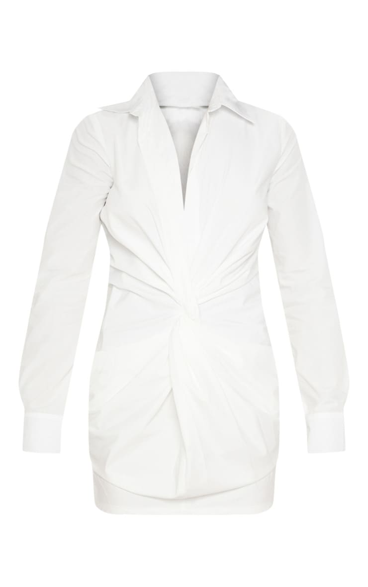White Plunge Knot Detail Shirt Dress 3