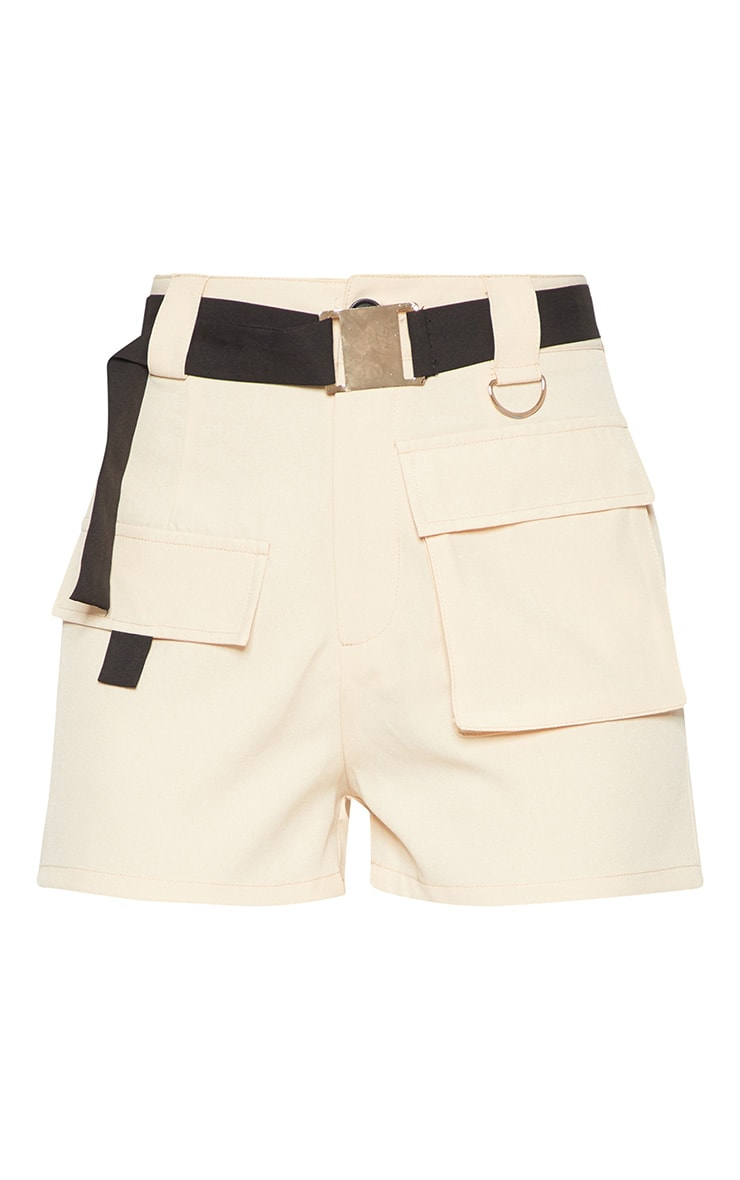 Stone Belted Waist Cargo Pocket Front Shorts 3