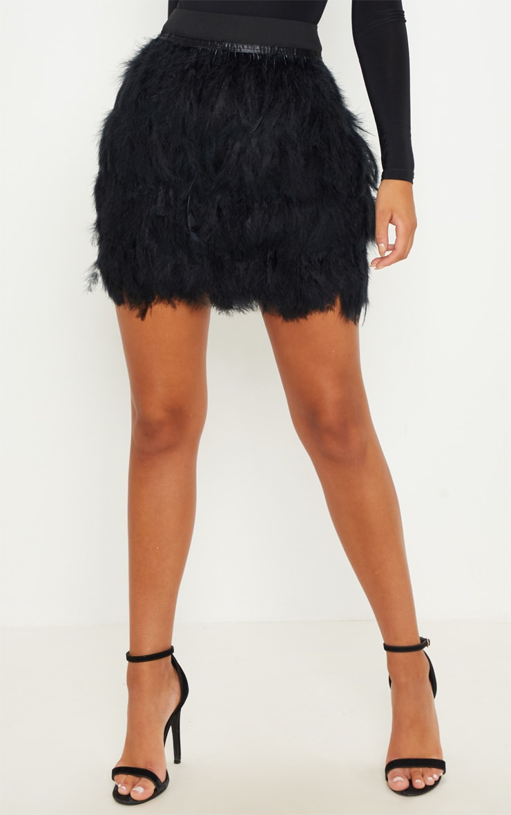 Black Tiered Feather Mini Skirt 2