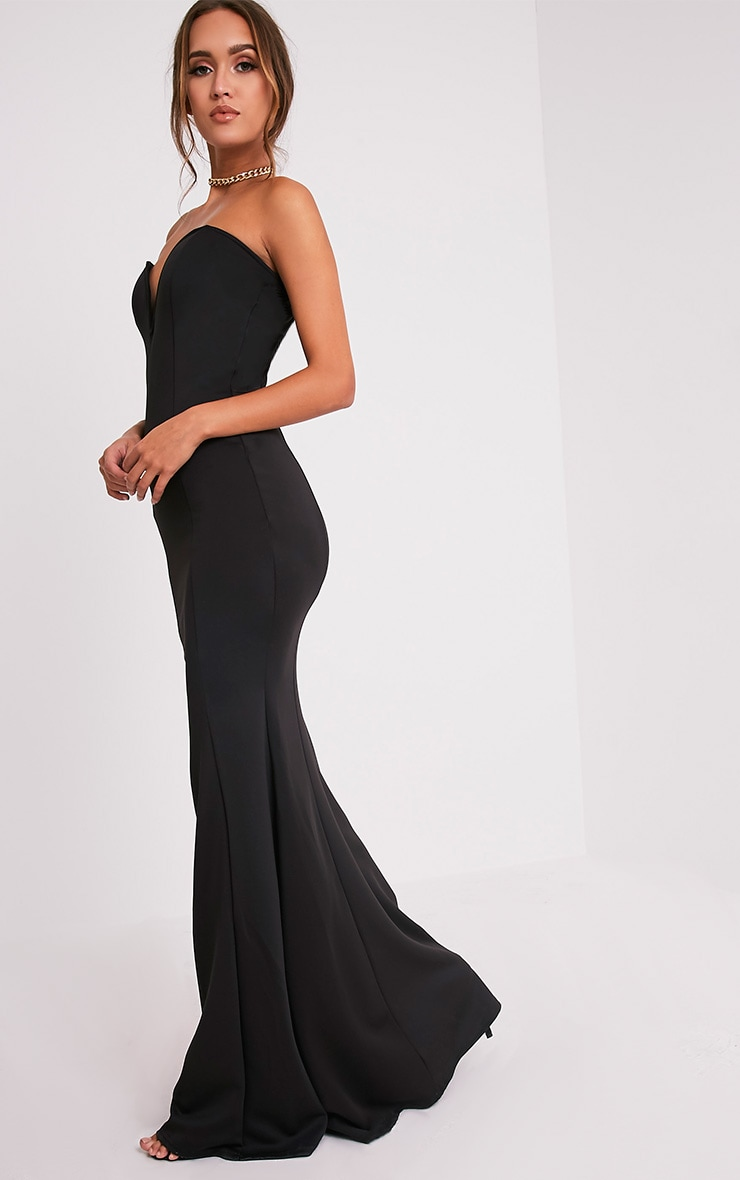 Wendie Black Sweetheart Fishtail Maxi Dress 4