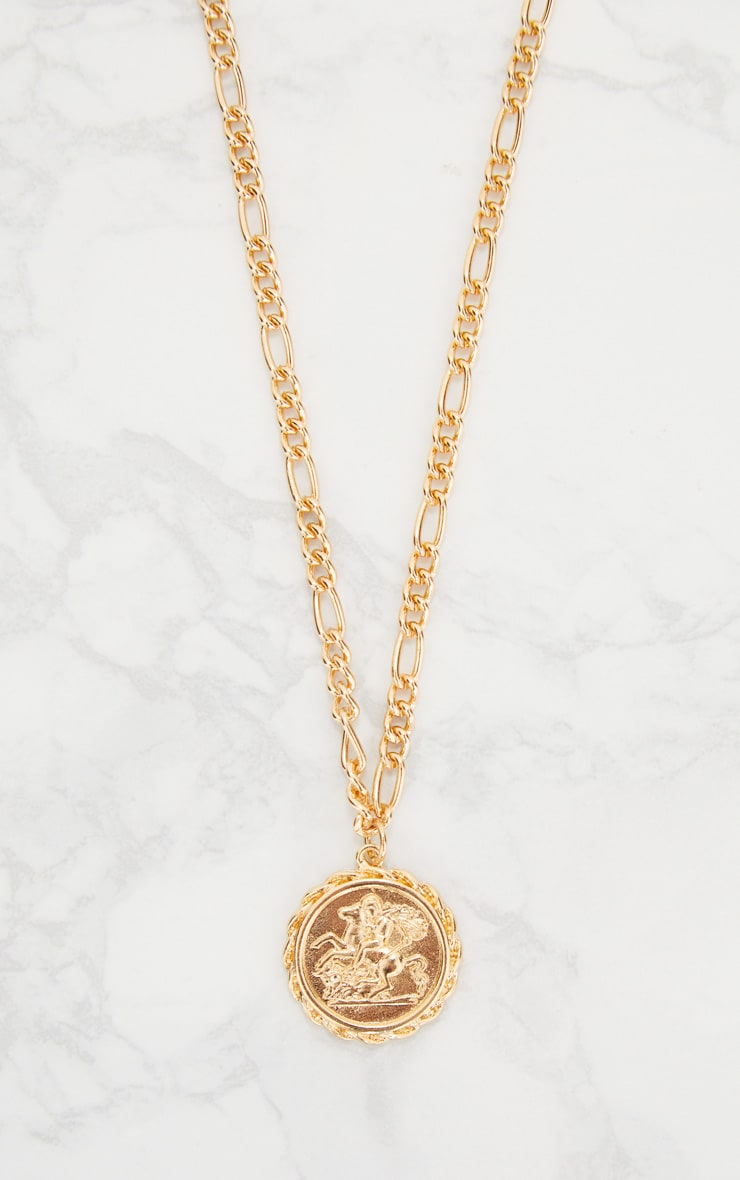 Gold Coin Pendant Chain Choker 3