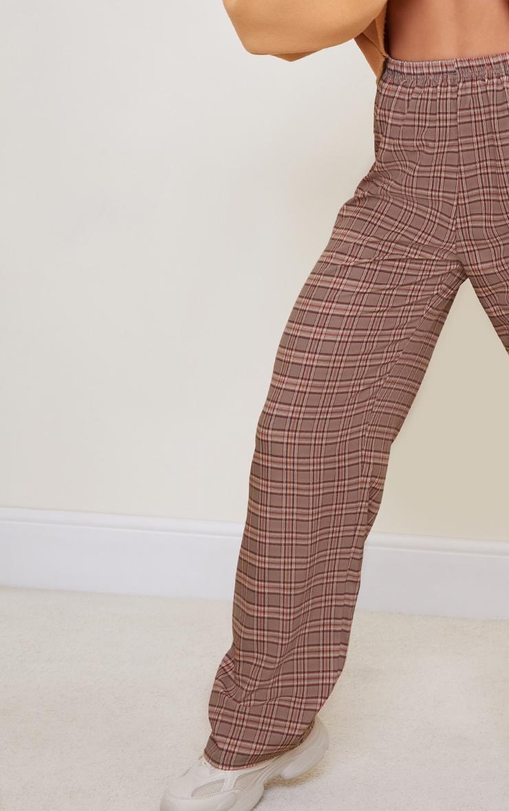 Brown Classic Check Wide Leg Pants 4