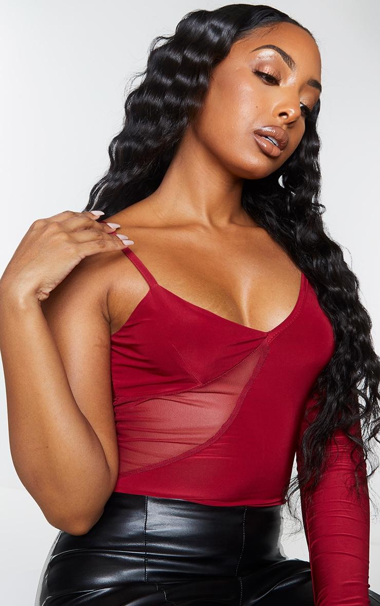 Scarlet Slinky Mesh Panel One Shoulder Bodysuit 4