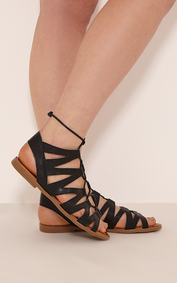Brielle Black Cut Out Gladiator Sandals 3