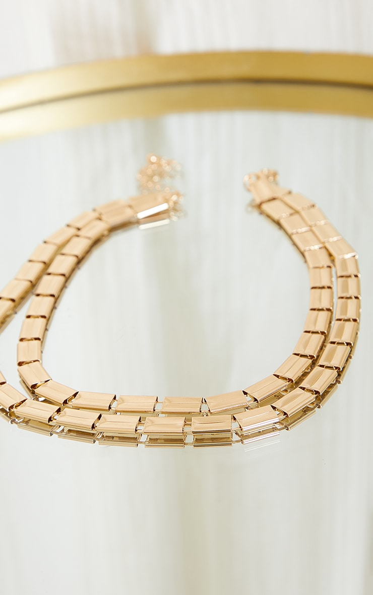 Gold Chunky Square Chain Layering Necklace 3