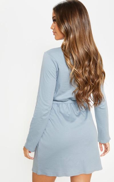 Lead Grey Elasticated Waist Long Sleeve T Shirt Dress