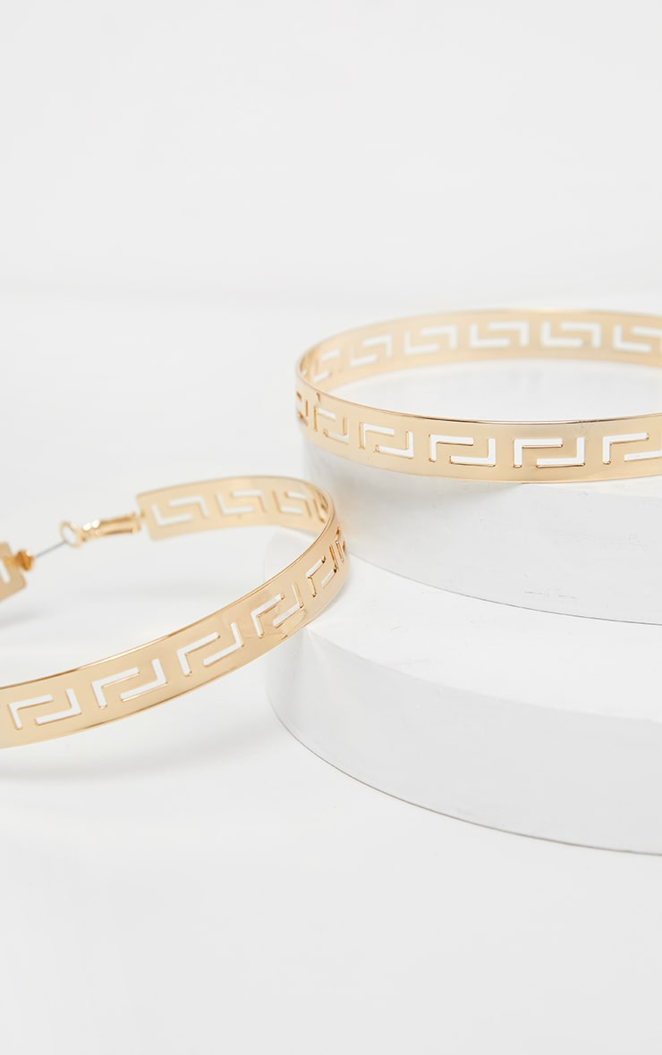 Gold Greek Key Cut Out 80mm Large Hoop Earrings 3